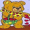 Раскраска: Сердца и мишка (Hearts and  bear coloring)
